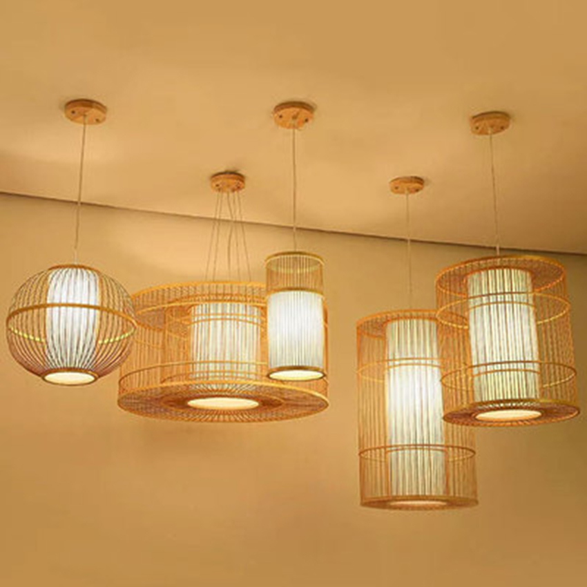 Chinese Bamboo LED Chandeliers Living Room Hotel Lobby Restaurant Pendant Lamp Lighting Bedroom Teahouse Hanging Lamps Luminaire Pendant Lights     - title=