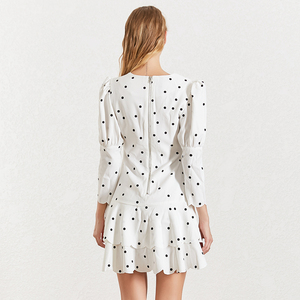 Image 3 - TWOTWINSTYLE Summer Polka Dot Dress For Women V Neck Puff Sleeve High Waist Ruffles Mini Dresses Female Fasihon Clothing 2019
