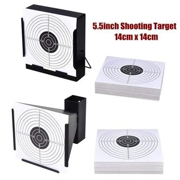 """Objetivos de disparo 5,5 """"soporte del objetivo trampa de pellets + 100 objetivos de papel para pistola/Rifle/pistola/Airsoft/pistola BB/pistola de pellets/Rifle de aire"""