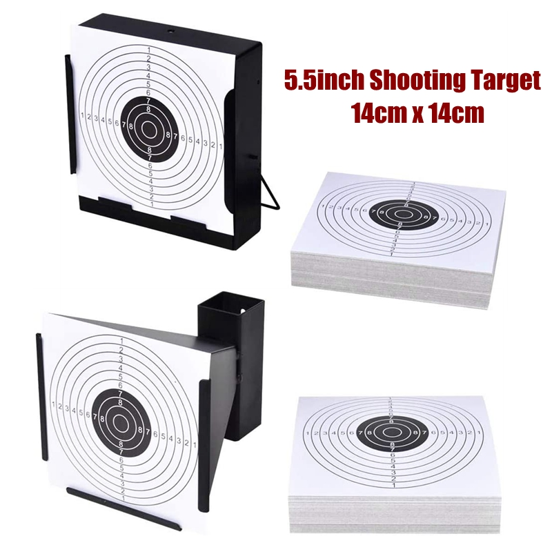 "Shooting Targets 5.5"" Target Holder Pellet Trap + 100 Paper Targets For Gun/Rifle/Pistol/Airsoft/BB Gun/Pellet Gun/Air Rifle"