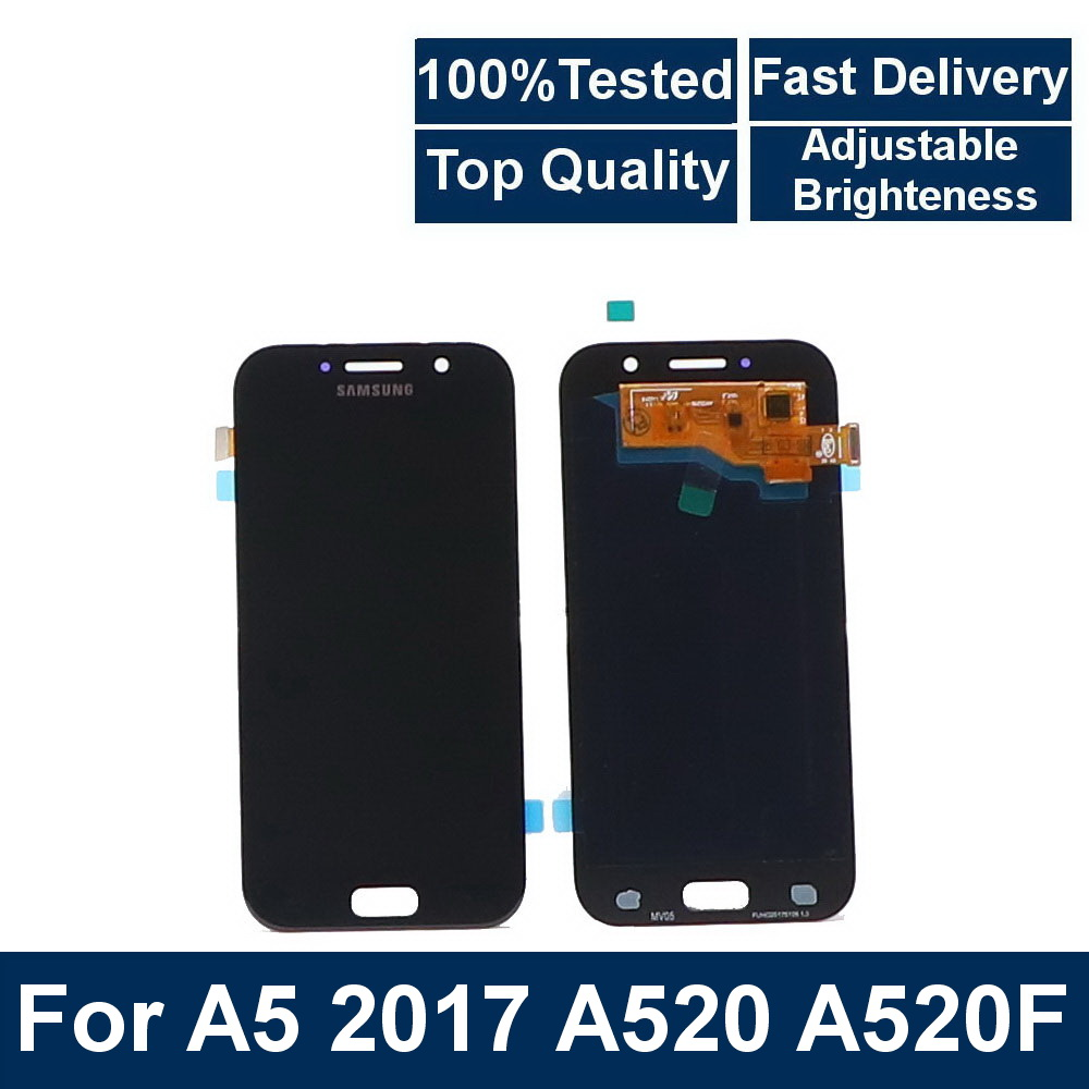 100%Tested For <font><b>Samsung</b></font> Galaxy <font><b>A5</b></font> 2017 A520F SM-A520F <font><b>A520</b></font> Phone LCD touch screen digitizer component with brightness adjustment image