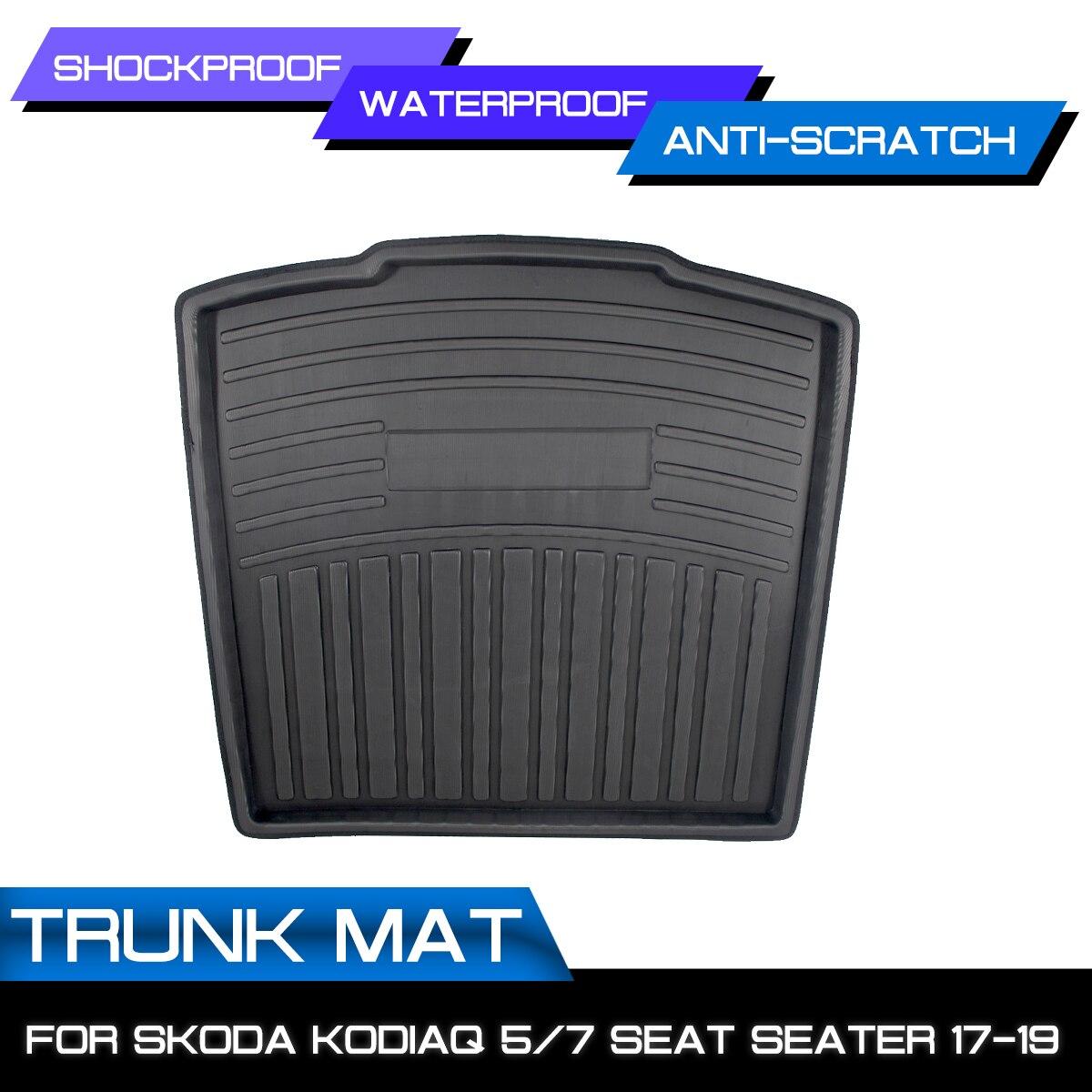 Car Cargo Liner Boot Tray Rear Trunk Cover For SKODA Kodiaq 5/7 Seat Seater 2017 2018 2019 Matt Mat Floor Carpet Kick Pad