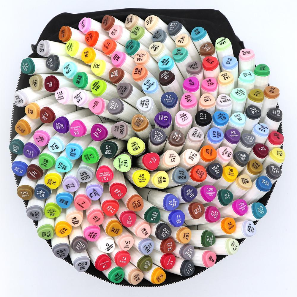 تاتش تن 30/40/60/80 أقلام تلوين ملونة مجموعة مزدوجة رئيس الفنان رسم الكحول أساس علامات للرسوم المتحركة مانغا تصميم القلم اللوازم