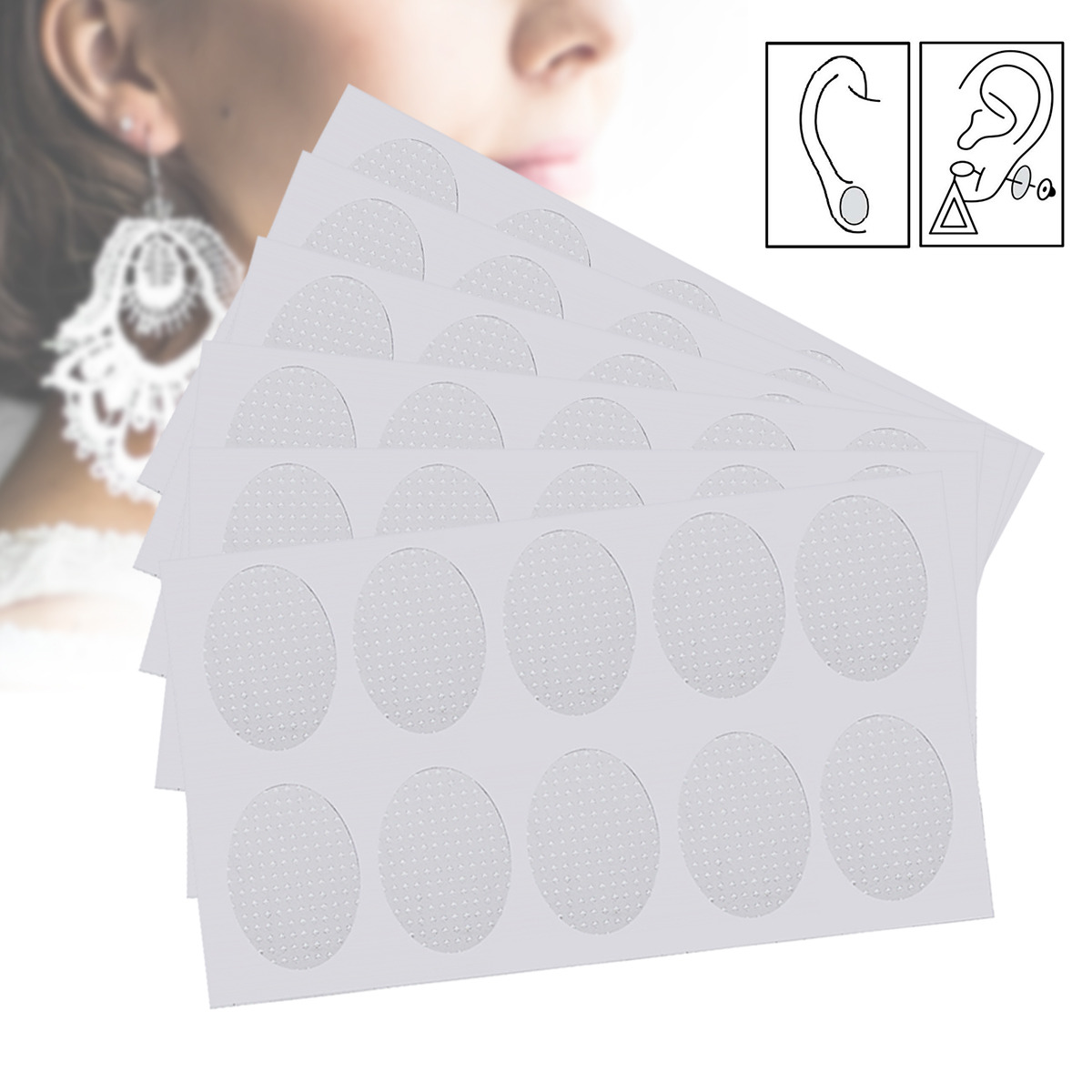 60pcs/6 Sheets Ear Support Patches Ear Lobe Support Patches Anti - Rips/Tears Relieve Strain From Heavy Earrings