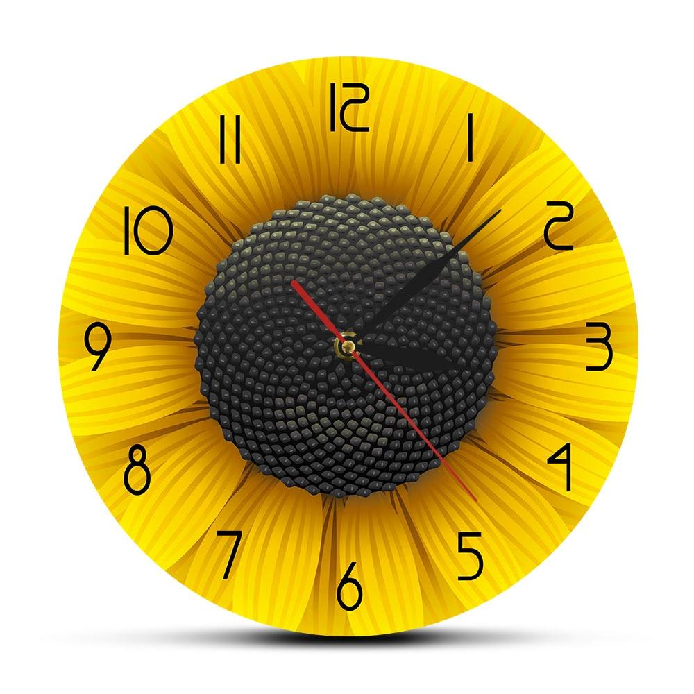 Beaufitul Fresh Sunflower Modern Wall Clock Botanical Yellow Flower Wall Art Natural Home Decor Helianthus Hanging Timepieces