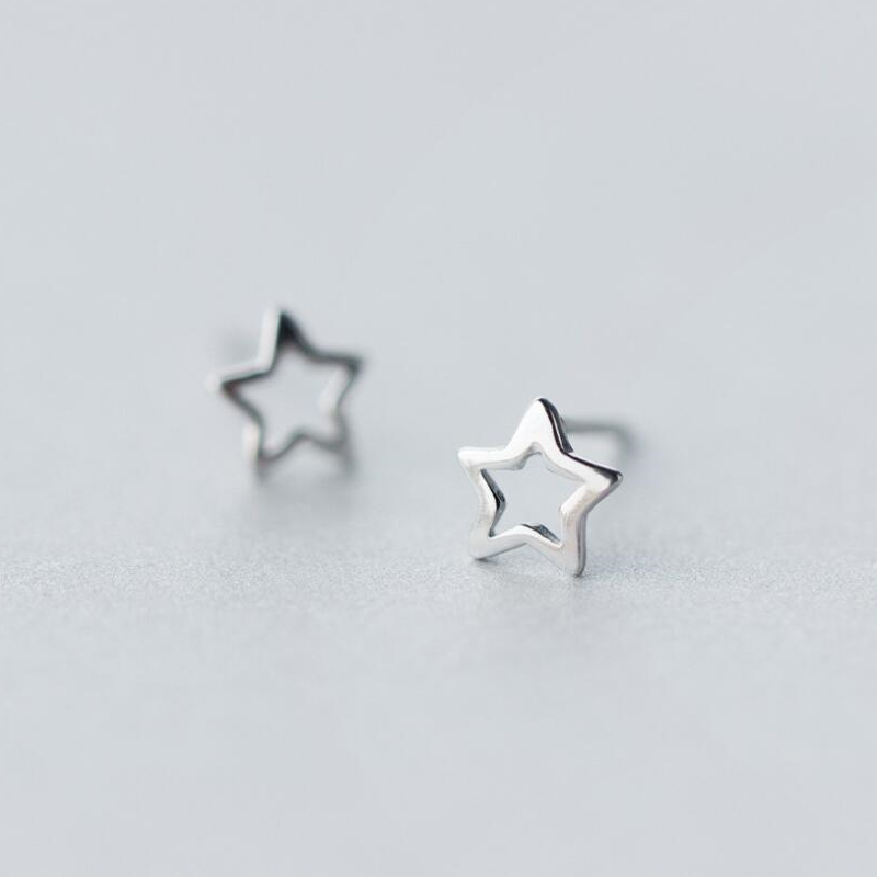 New Womens 100% 925 Sterling Silver Jewelry Tiny Hollow Out Star Earrings Gift Girls Kids Drop Shipping