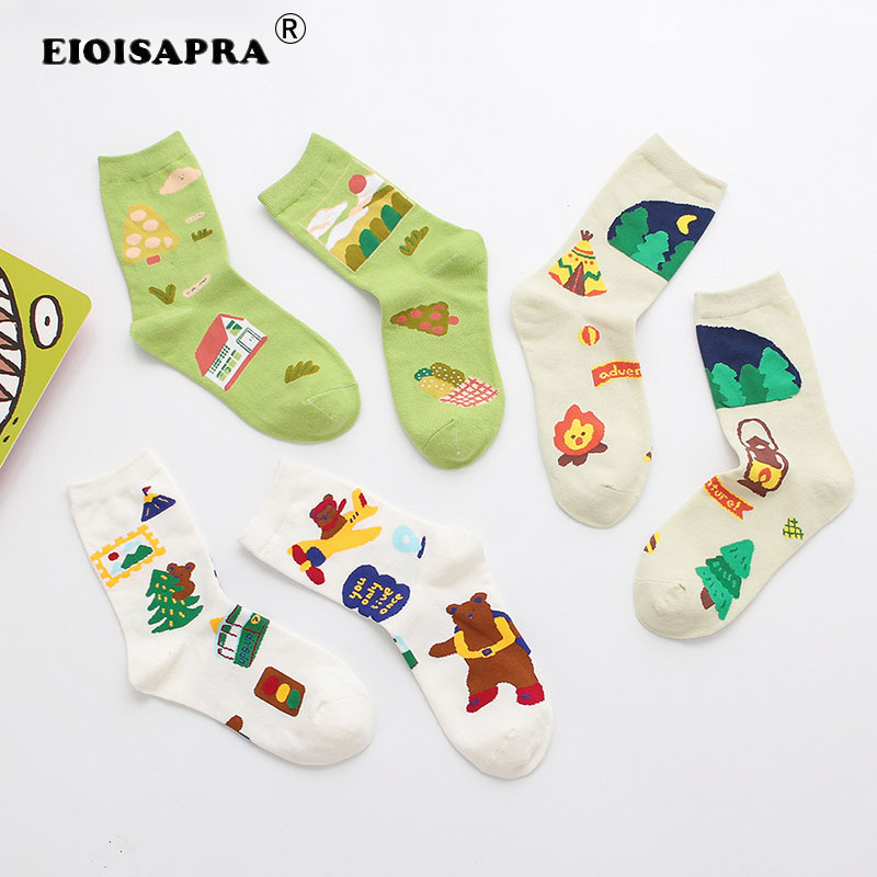 Autumn/Winter Lovely Personality Tide Socks College Style Candy Color Doodle Avocados Fruit Girl Small Fresh Women Socks