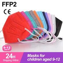 Mascarillas FFp2 de 9 a 12 años para Niños, máscara kn95 de colores, FFp2, CE, FPP2, filtro reutilizable, infantil