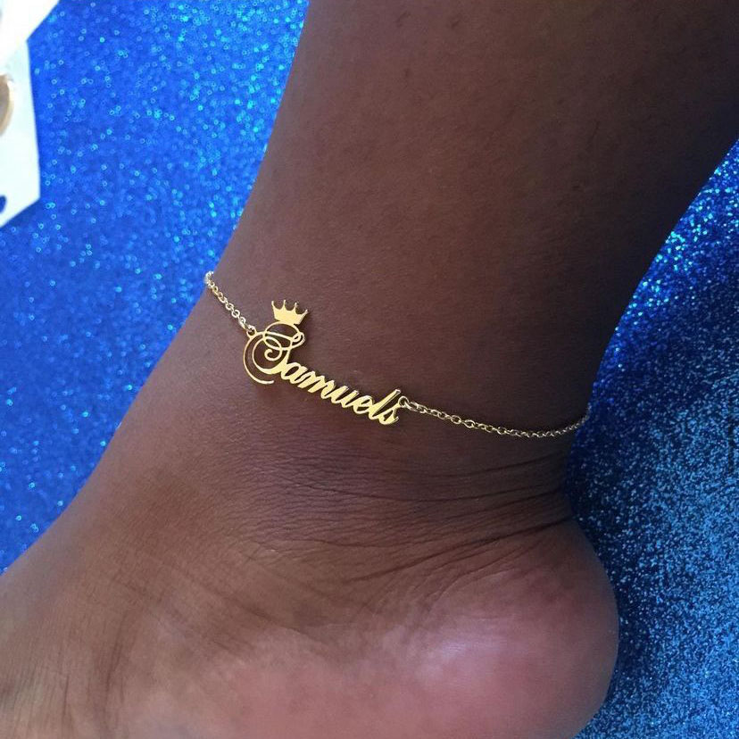 Женские браслеты с именами короны на заказ, браслет из нержавеющей стали, золотой браслет на ногу, ювелирное изделие, подарок на летнюю вече...