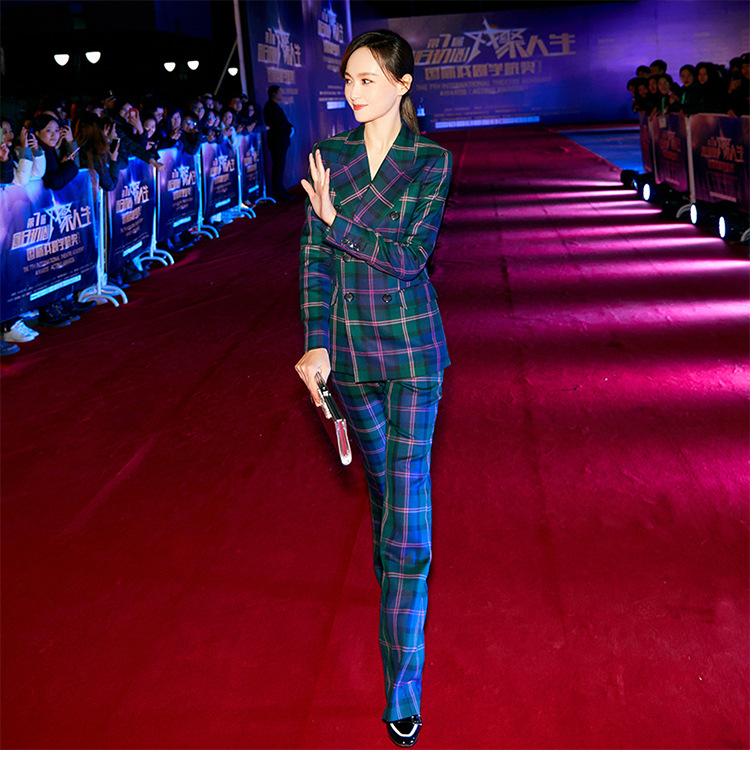 S-3XL high quality new fashion plaid print Slim thick fabric suit double-breasted shirt flared trousers women's suit 46