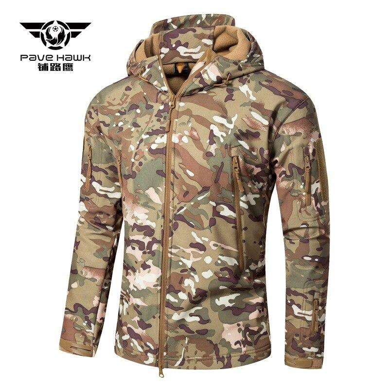Мужская куртка из кожи акулы, мягкая оболочка V6, тактическая куртка, зимняя уличная Военная Водонепроницаемая Флисовая теплая куртка с капю