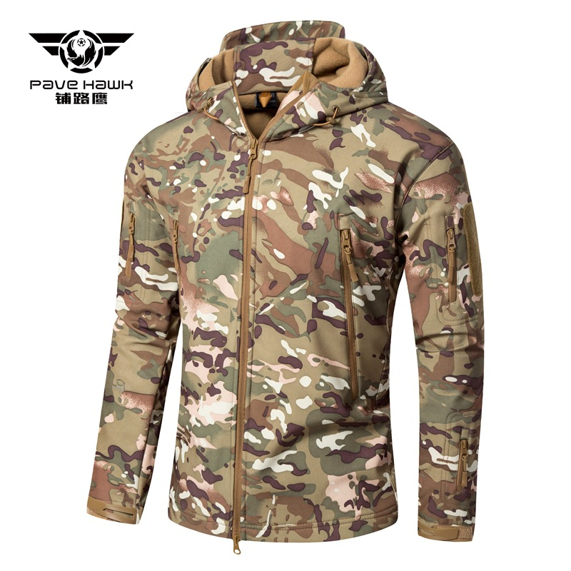 Men Shark Skin Soft shell V6 Tactical Jacket winter outdoor Military Waterproof Fleece warm hooded coat New camo Army outerwear
