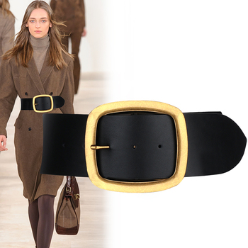 HOT Genuine Leather vintage Big Metal Buckle Wide Belt Personality Women New Fashion Tide All match cowskin strap belts for jean 1