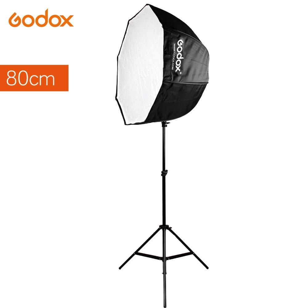 Godox Portable 80cm 31.5in octogone Speedlite parapluie lumière Softbox réflecteur + 2m pied de lumière pour Flash Flash Photo Studio