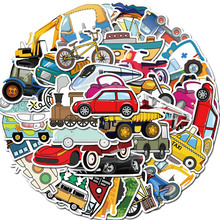 50PCS Cute Cartoon Transportation Stickers Sailing Excavator Car Train Sticker for Helmet Laptop PS4 Guitar Children Toys