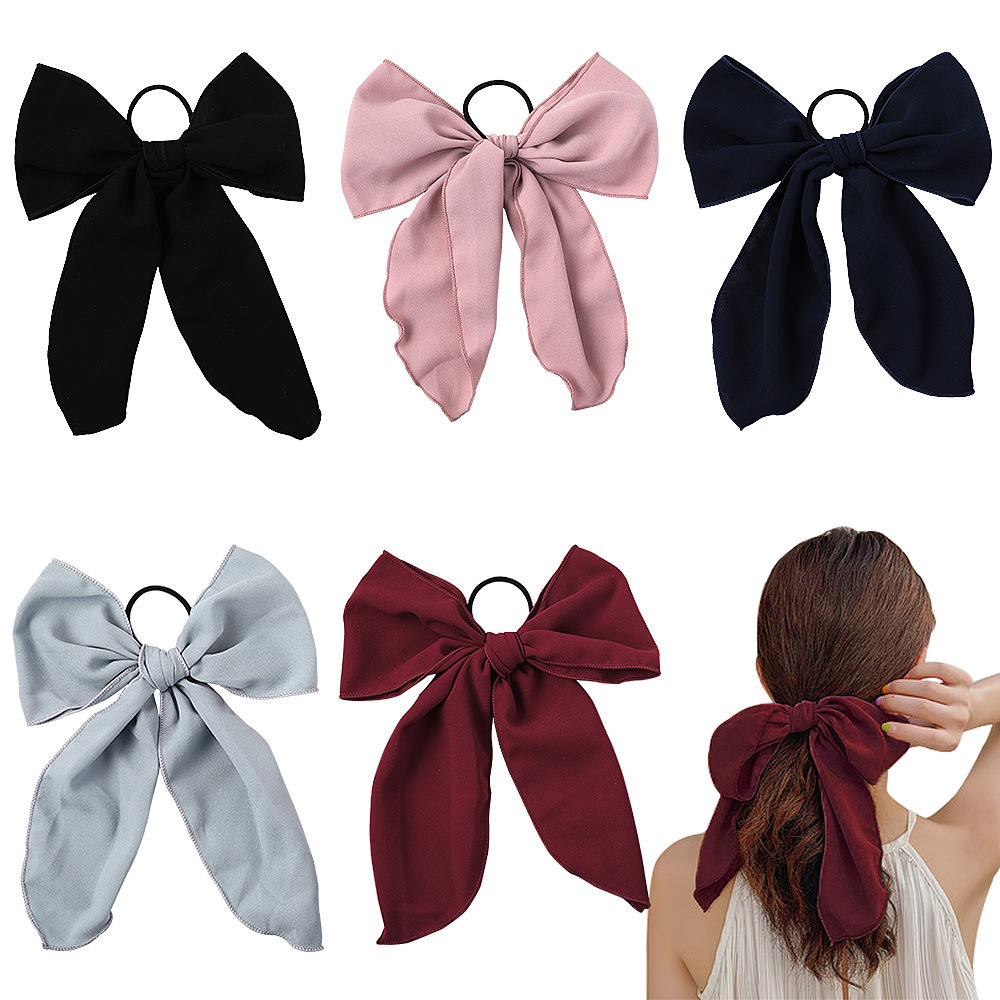 New Chiffon Big Ribbon Bow Scrunchie Women Girls Elastic Hair Rubber Bands Accessories For Tie Hair Ring Rope Ornament Headdress