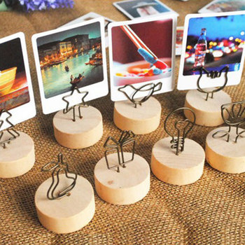 Fashion Creative Table Standing Wooden Shelving Cartoon Photo Folder Shelf High Quality Postcard Decoration Shelf Pastoral Style 1