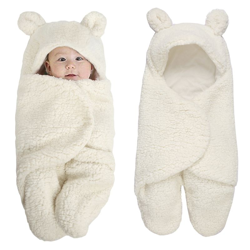 Newborn Baby Blanket Swaddle Wrap Winter Cotton Plush Hooded Sleeping Bag 0-12M D7YD