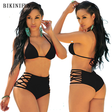 New Sexy Solid Color Bikini Women Swimsuit Backless Halter Swimwear S-L Girl Hollow Bandage Bathing Suit High Waist Bikini Set