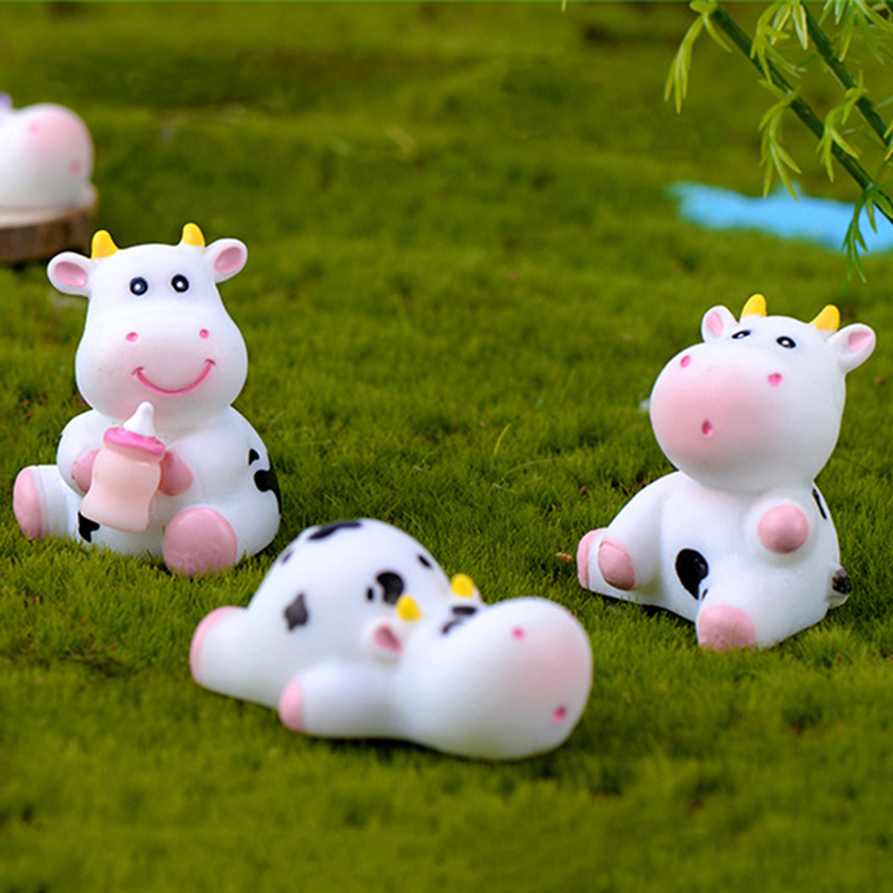 Micro Landscape Cow Figurines Miniature Dairy Cattle Animal Model Little Statue