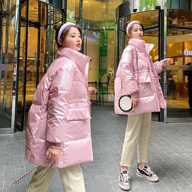 2021 New Winter women parkas fashion shiny fabric thicken windproof warm jackets coat outwear snow wear jacket S-XL 4