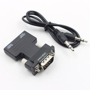 Image 2 - Hot HDMI Weiblichen Zu VGA Stecker Konverter Mit Audio Adapter Unterstützung 1080P Signal Ausgang Konverter + Audio Kabel L3FE