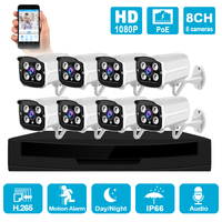 H.265 8CH POE Security System Kit Outdoor 1080P Waterproof NVR P2P IP Cam HDD Onvif CCTV Audio Video Surveillance Camera