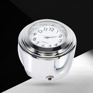 """Универсальные водонепроницаемые хромированные часы 7/8 """"для мотоцикла и велосипеда с креплением на руль кварцевые часы алюминиевые светящиеся часы Moto Accessori 2019"""