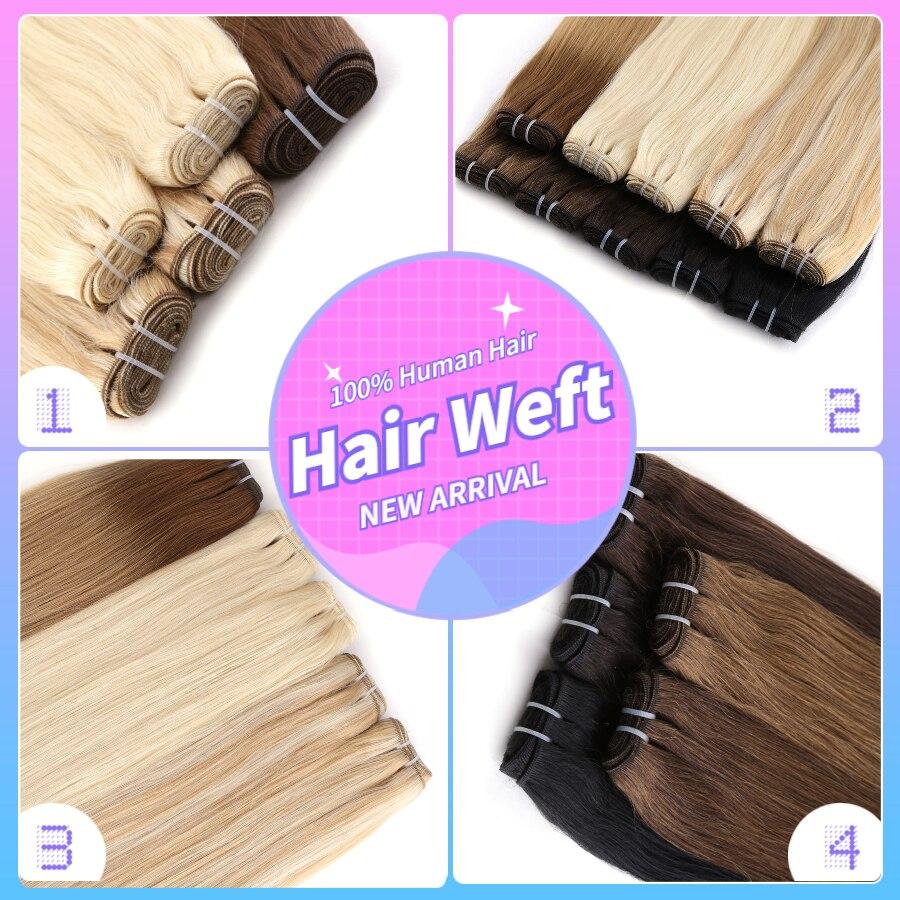 Vlasy feixes de tecer cabelo em linha reta máquina feita remy 100% cabelo humano trama dupla costurar em extensões de cabelo natural 20 24 24 24 100 gg/pc