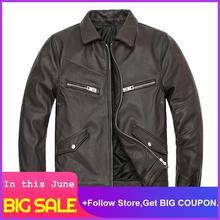 2020 Brown Men American Style Motorcycle Leather Jacket Plus Size XXXL Genuine Cowhide Autumn Natural Leather Coat недорого