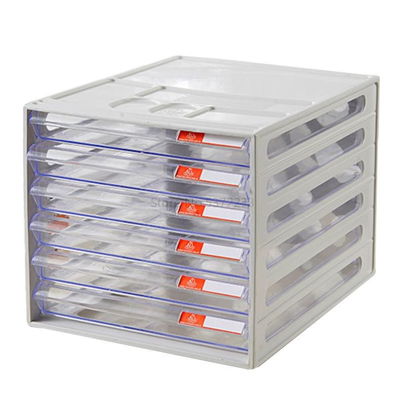 Desktop Filing Cabinet Cabinet Six-story Storage Box Plastic Drawer Transparent Storage Cabinet A4 Filing Cabinet Filing Cabinet