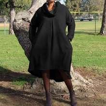Plus Size 2019 Women Warm Sweater Dress Celmia Vintage Casual Long Sleeve Loose Pullover Tops Asymmetrical Vestidos