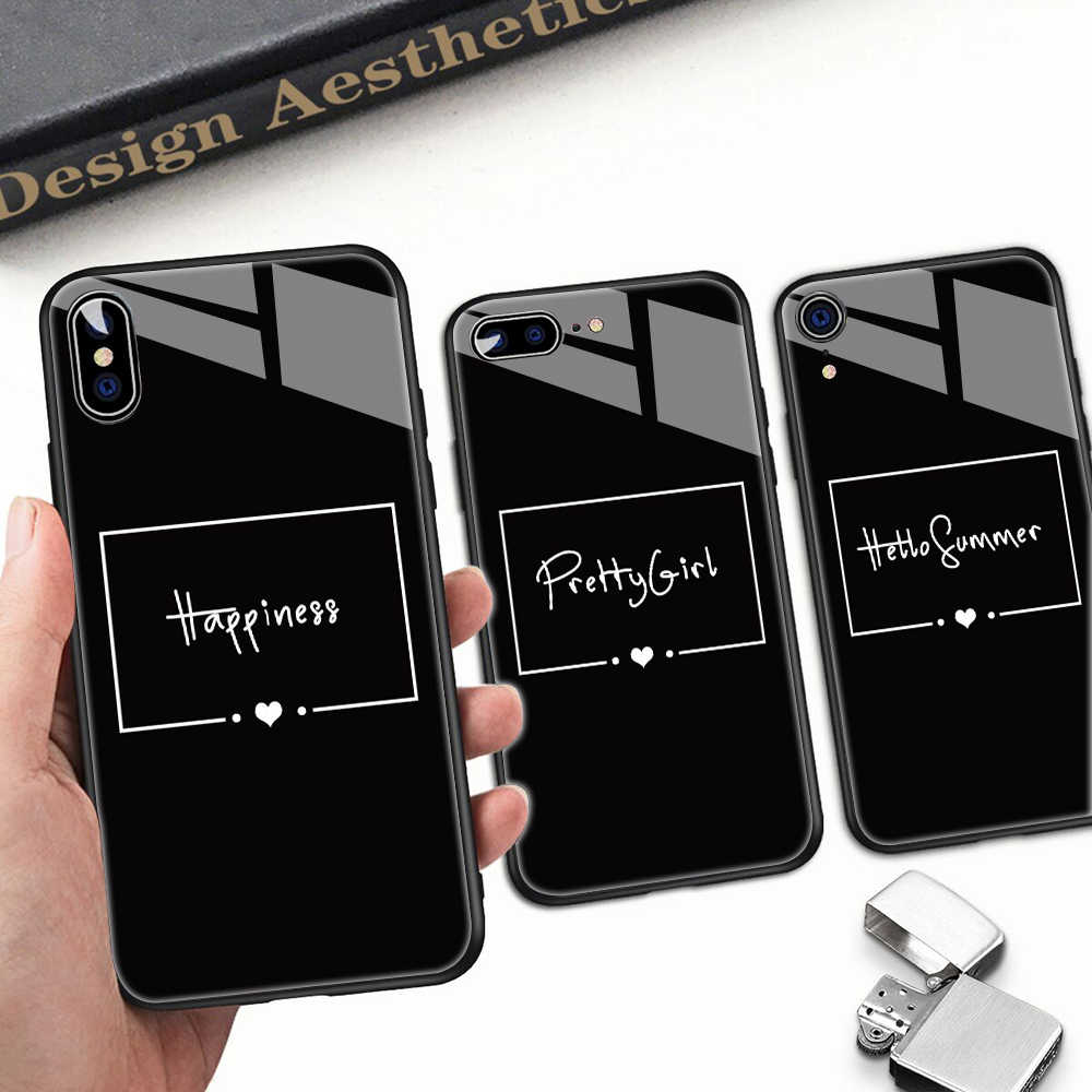 Black White Text Glass Phone Case For Iphone 11 Pro Max 6s Xs 8plus Unique Diy Glass Phone Case For Iphone X10 7 6 Xs Xr Fashion Aliexpress,Design Your Own Food Packaging