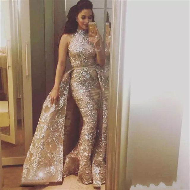 Saudi Arabic Muslim Evening Dresses 2019 High Collar Lace Formal Islamic Dubai Kaftan Detachable Long Evening Gown