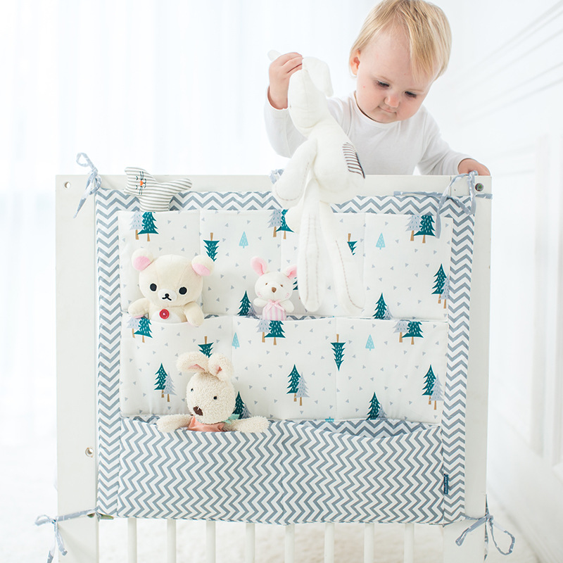 Brand New Baby Cot Bed Hanging Storage Bag Crib Cot Organizer Storage Bag 60*50cm Toy Diaper Pocket For Crib Bedding Set Flaming