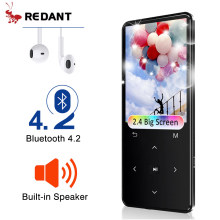 Reproductor MP4 REDANT con bluetooth lector mp3 mp4 reproductor de música portátil mp 4 media delgada 2,4 pulgadas teclas táctiles fm radio video Hifi(China)