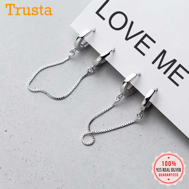 Trustdavis 100% 925 Solid Sterling Silver Earring Clips Linkced Chain Earrings For Women Fashion  Jewelry DA454