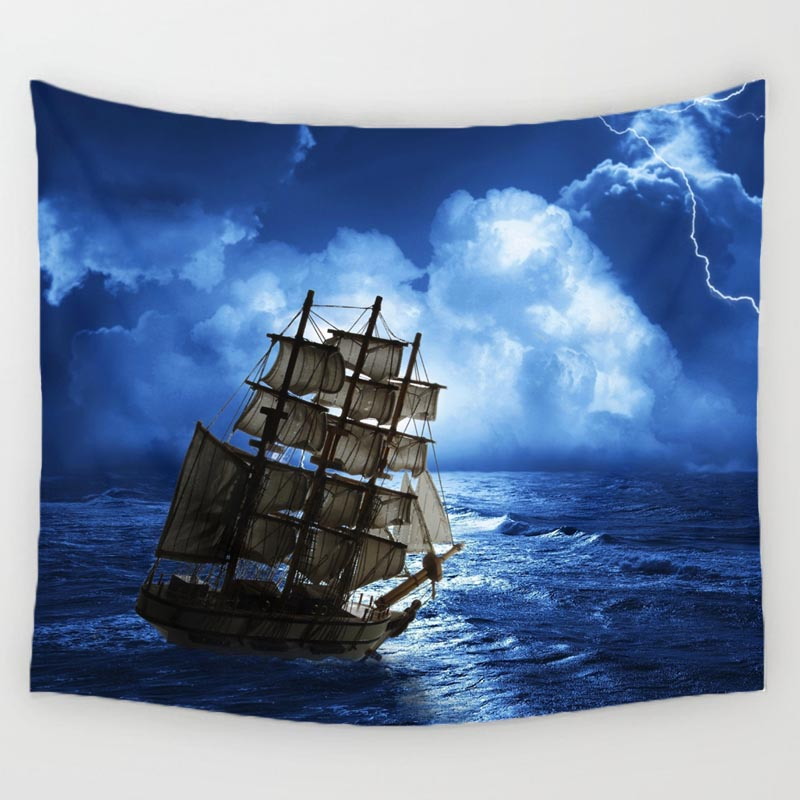 Navigation Sailing The Ocean Steamship Pattern Tapestry Beach Throw Towel Yoga Rug Wall Hanging Home Decor Art