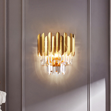 Nordic Luxury Copper Crystal LED Wall Lamps Decorative Sconces Bedroom Light Fixture Bedside Living Room Hotel Aisle Wall Lights gold crystal led wall sconces lamps for bedroom living room bedside bathroom closet night light modern luxury wall light
