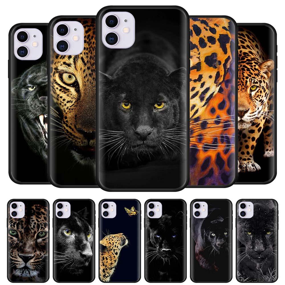 Чехлы с гепардовой пантерой для iPhone 12 Mini 11 Pro X XR XS Max 7 8 6 6S Plus SE 2020, Черный силиконовый мягкий чехол для телефона