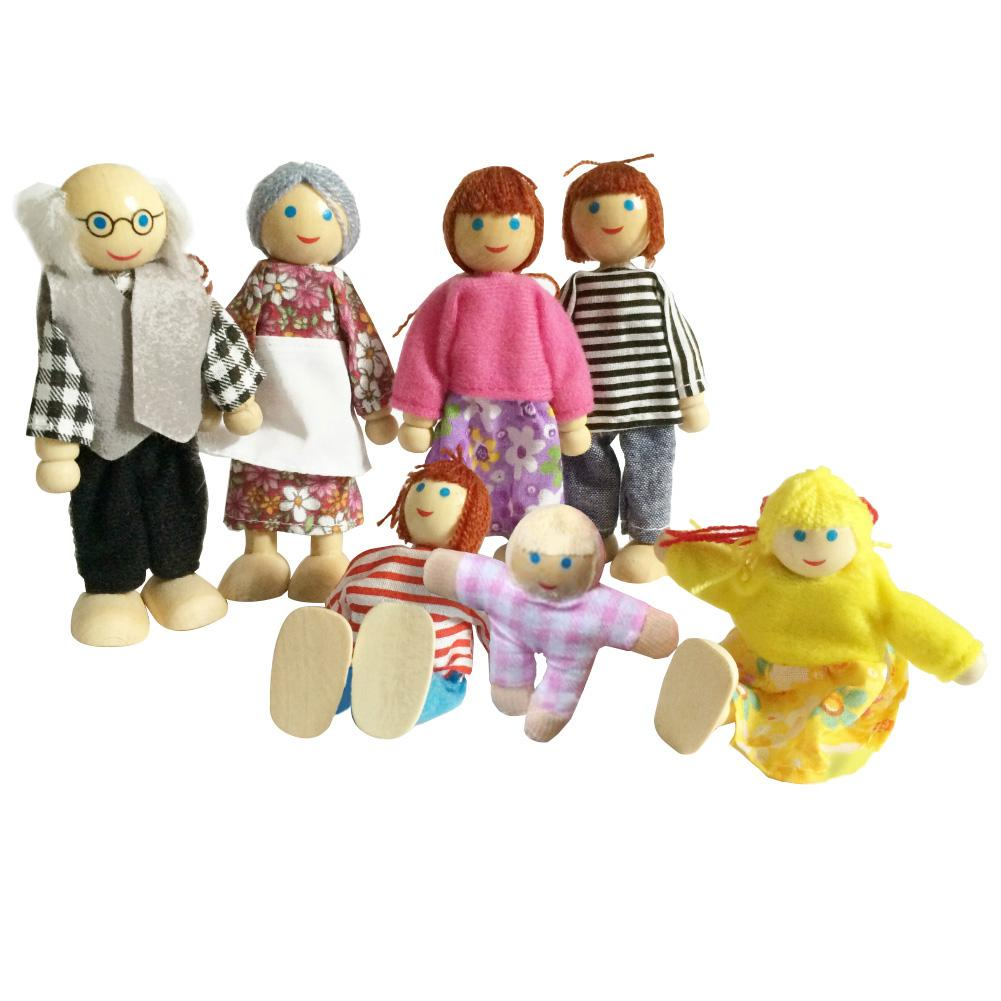 Miniature Wooden Family People In Clothes Dolls Figure Dollhouse Accessory Toy Playing Doll Gift Kids Pretend Toys New