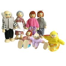 Miniature Wooden Family People in Clothes Dolls Figure Dollhouse Accessory Toy Playing Doll