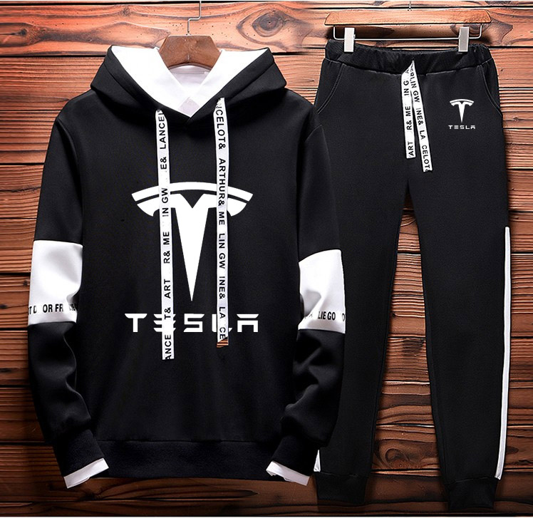 Mens Hoodies Sweatshirt Tesla Car Logo Printed Spring Autumn Hoodies+Pants 2Pcs Sporting Suit Fleece Warm Thick Sportwear