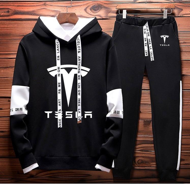 Mens Hoodies Sweatshirt Tesla Car Logo Printed Spring Autumn Hoodies+Pants 2Pcs Sporting Suit Fleece Warm Thick Sportwear