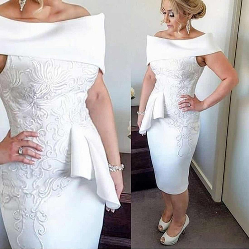 Vintage Mother Of The Bride Dresses 2018 Bateau Tea Length White Applique Off The Shoulder Ruched Custom Made Sheath Madrinha