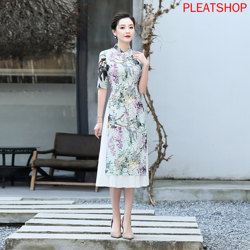 Summer Slim Fit Breathable Long Viscose Georgette Printed Improved Cheongsam qipao qi pao qi pao dress women clothes vestido