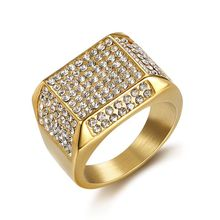 mensazone new family have 2 children ring aaa cz stone gold color can rotate 316 l stainless steel rings jewelry for women men Hip Hop Iced Out Bling Gold Color Stainless Steel Ring Male Micro Paved CZ Square Rings for Men Jewelry Gift Dropshipping
