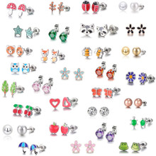 Luokey 30 Pairs/Set Stainless Steel Earrings For Women Tiny Small Animal Fruit Cute Stud Children Kids Frog Bee Jewelry
