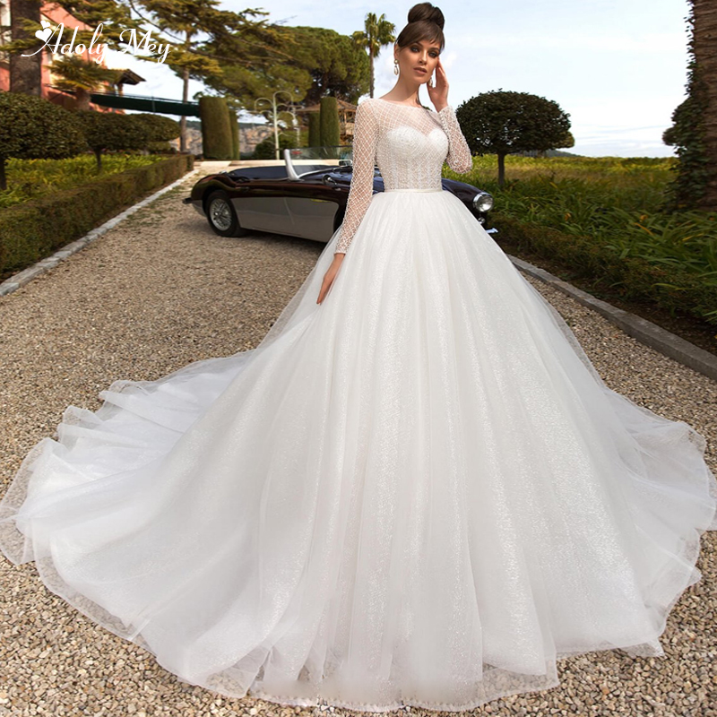 Adoly Mey Romantic Scoop Neck Chapel Train Ball Gown Wedding Dresses 2020 Luxury Baeded Long Sleeve Vintage Bride Gown Plus Size