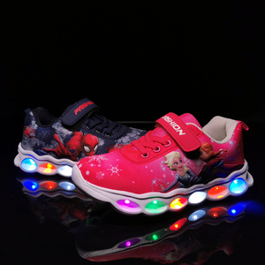Image 5 - LED Kids Sneakers Spiderman Glowing Shoes Boys Fiber Optic Kids Shoes Chaussure Enfant Sport  LED Kinder Sneakers 25 33